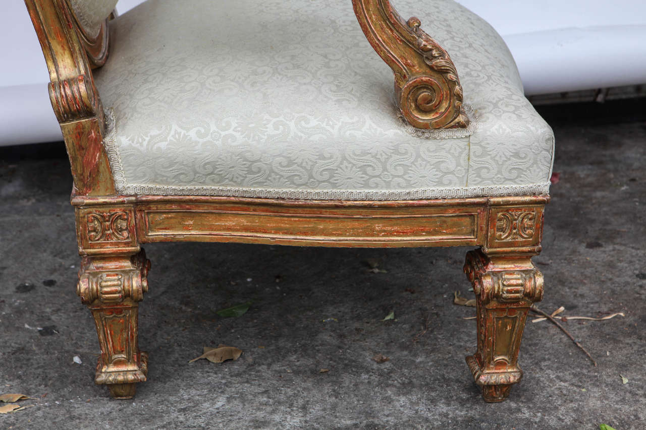 Pair of 19th Century Italian Giltwood Oversized Balloon Back Armchairs For Sale 4