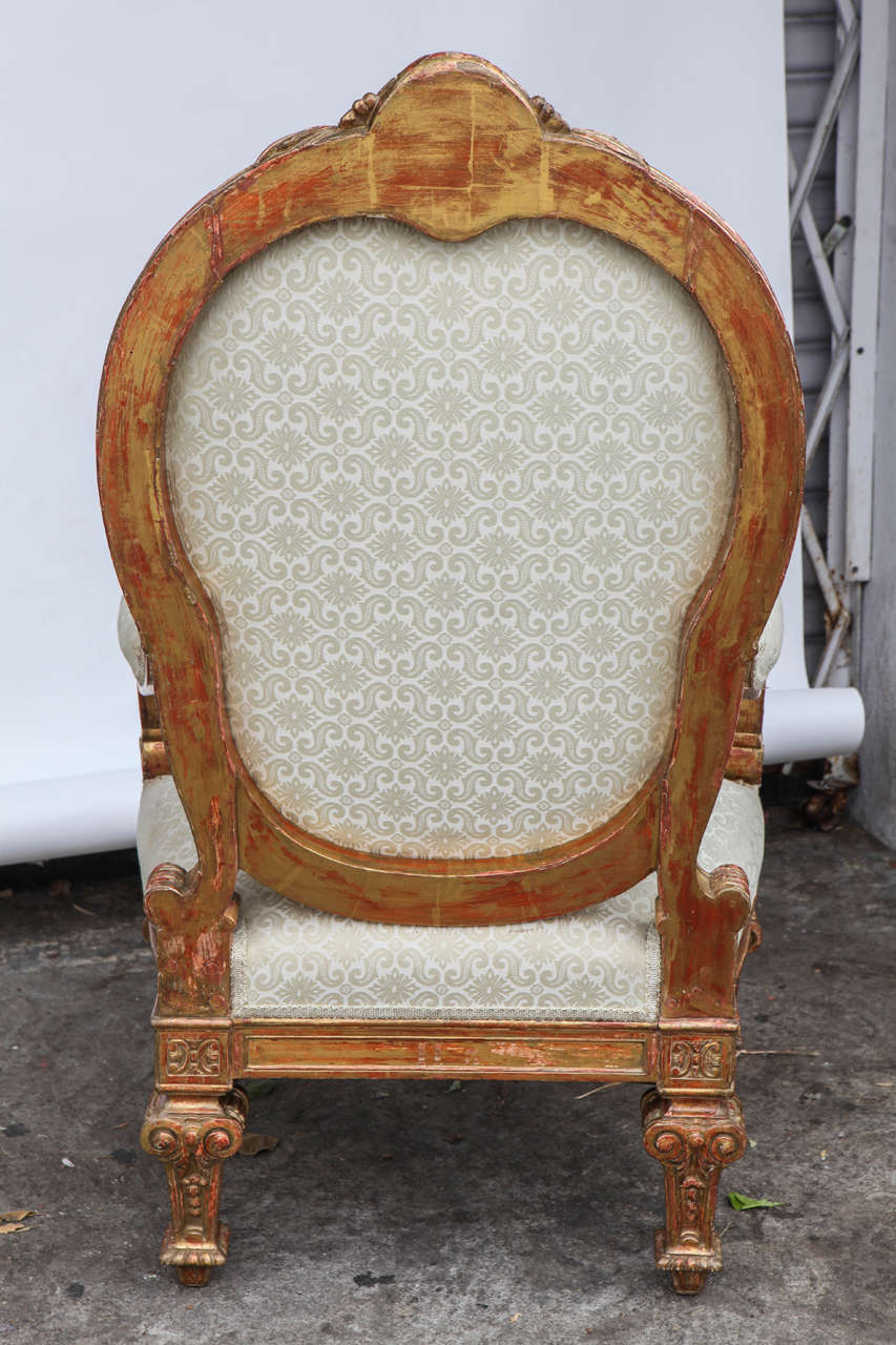 Pair of 19th Century Italian Giltwood Oversized Balloon Back Armchairs For Sale 5