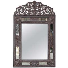 19th Century Dutch Metal and Wood Mirror