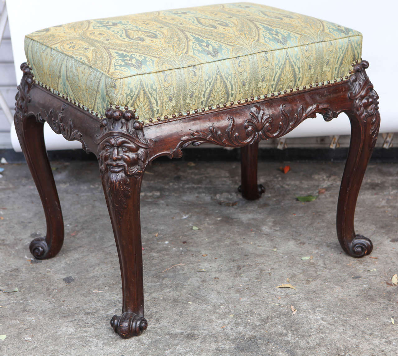 Carved 19th Century English Mahogany Bench For Sale