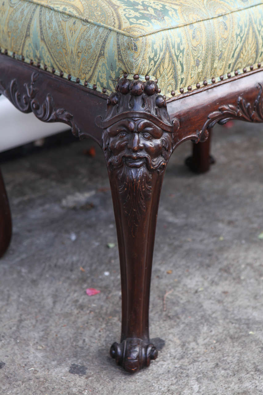 19th Century English Mahogany Bench For Sale 1