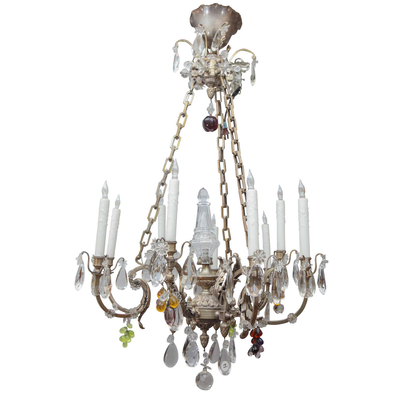 1900s French Silvered Bronze Chandelier with Cut Crystal