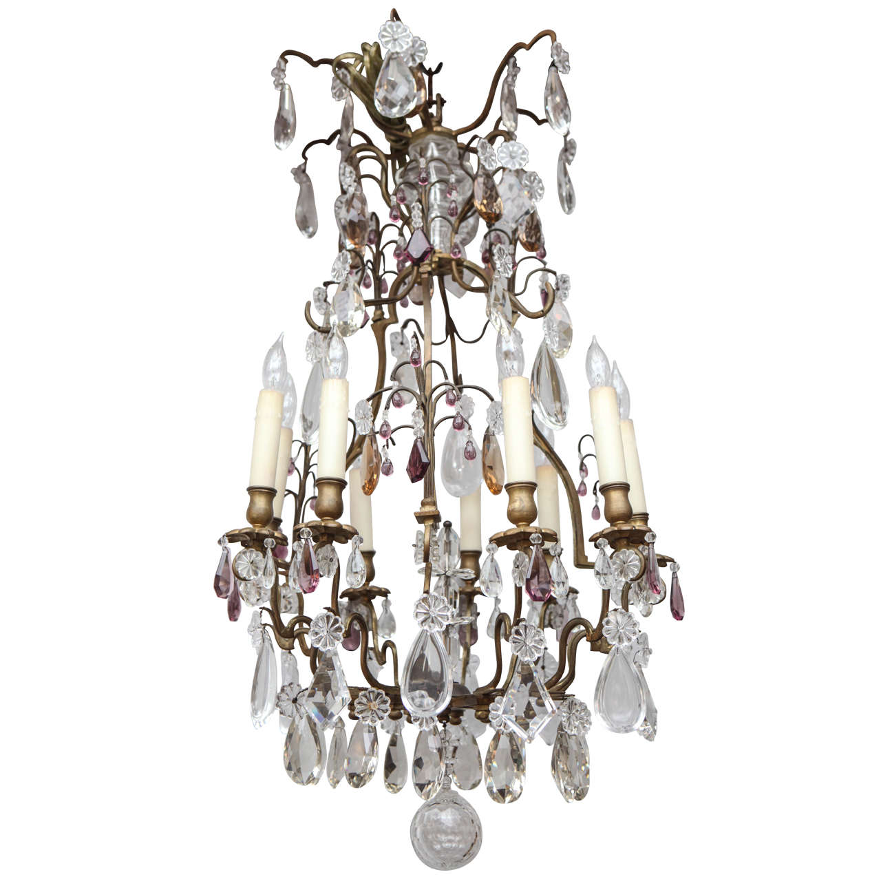 19th Century French Louis XV Style Bronze Chandelier with Crystal and Amethyst