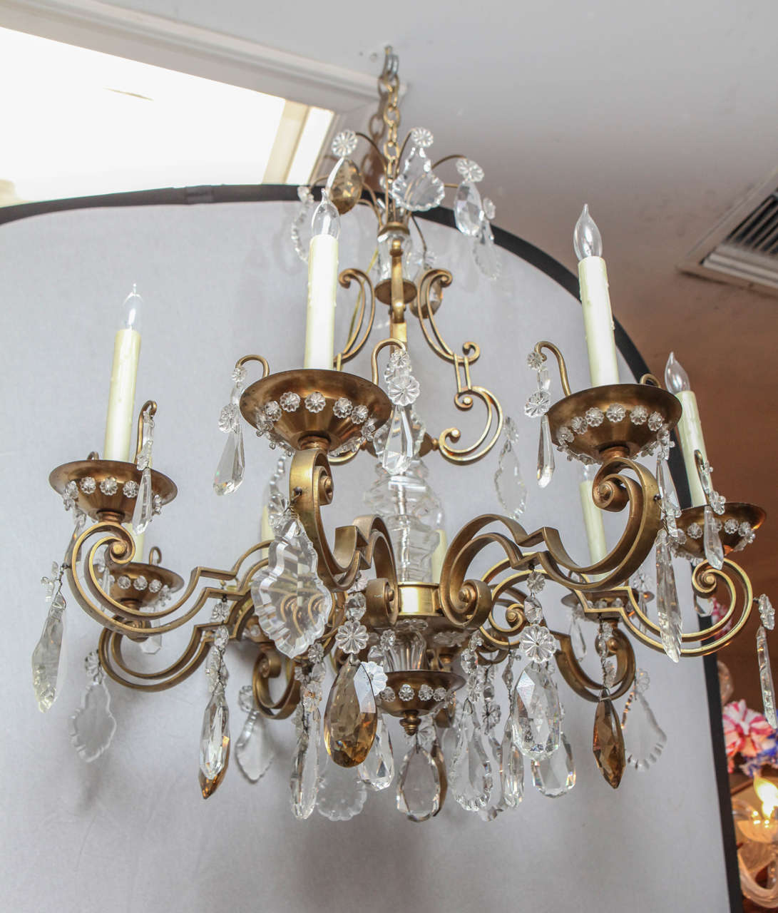 1900's French Bronze Bagues 8 light Chandelier.  Newly wired.