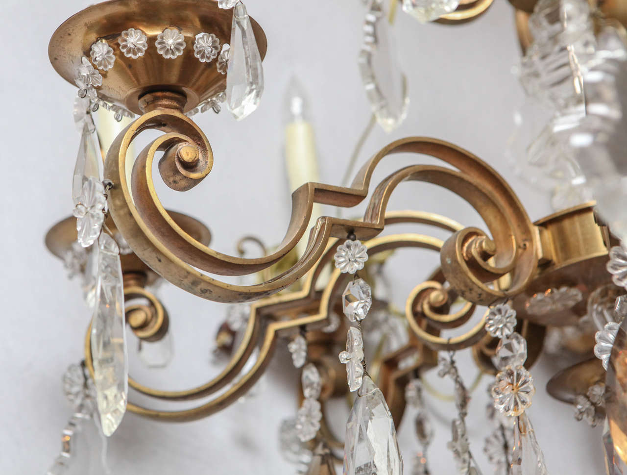 1900s French Bronze Bagues Chandelier In Excellent Condition For Sale In Los Angeles, CA