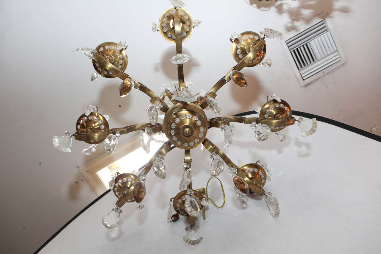 1900s French Bronze Bagues Chandelier For Sale 4