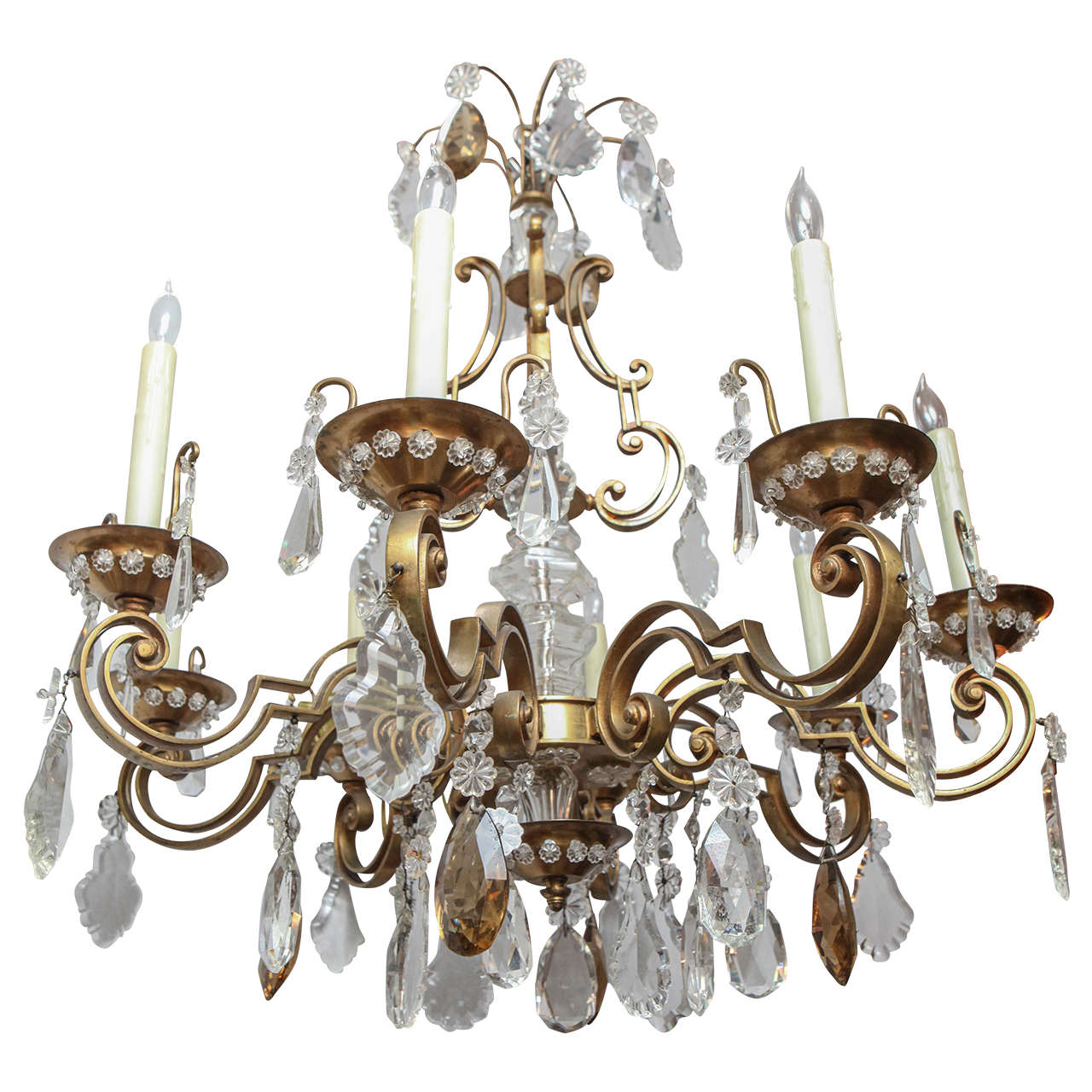 1900s French Bronze Bagues Chandelier