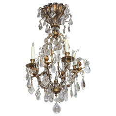 1900s French Bagues Dore Bronze and Crystal Chandelier