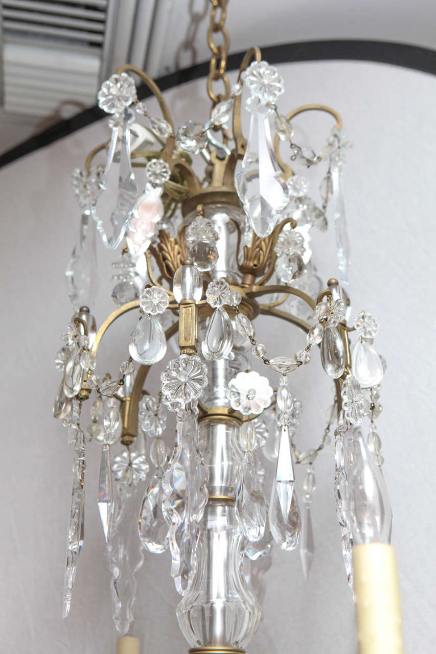 19th Century French Bronze And Crystal Chandelier For Sale