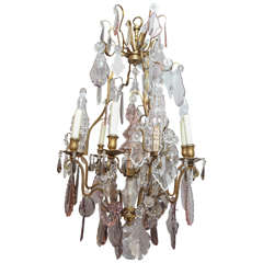 19th Century French Dore Bronze and Crystal Baccarat Chandelier