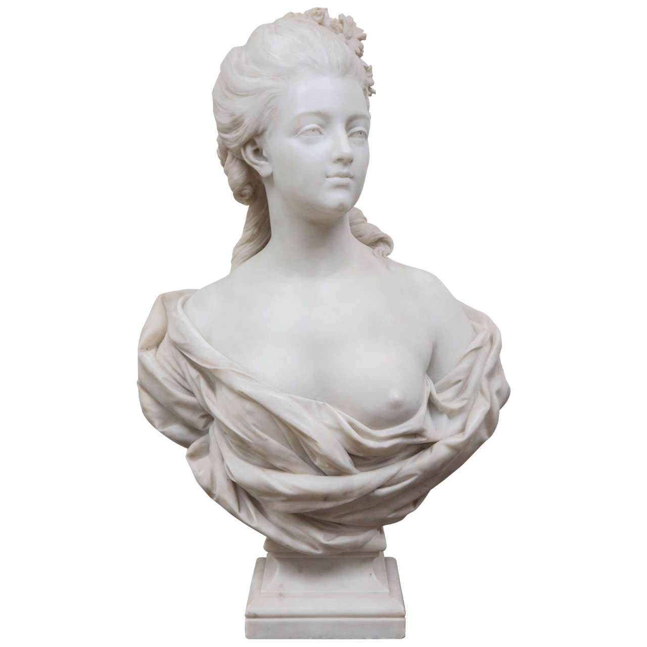 19th Century French Marble Bust of a Noblewoman