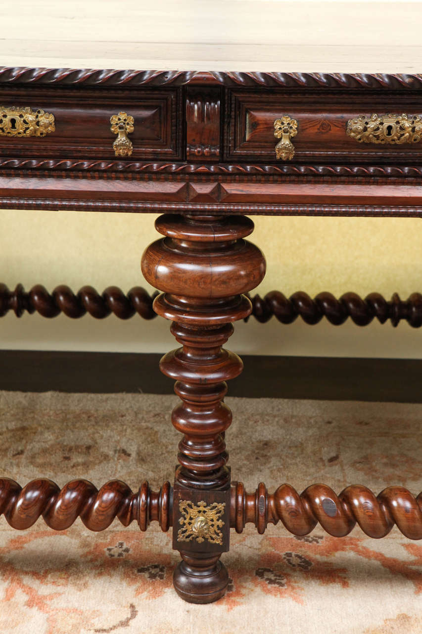 Carved 19th Century Monumental Portuguese Writing Table or Desk For Sale