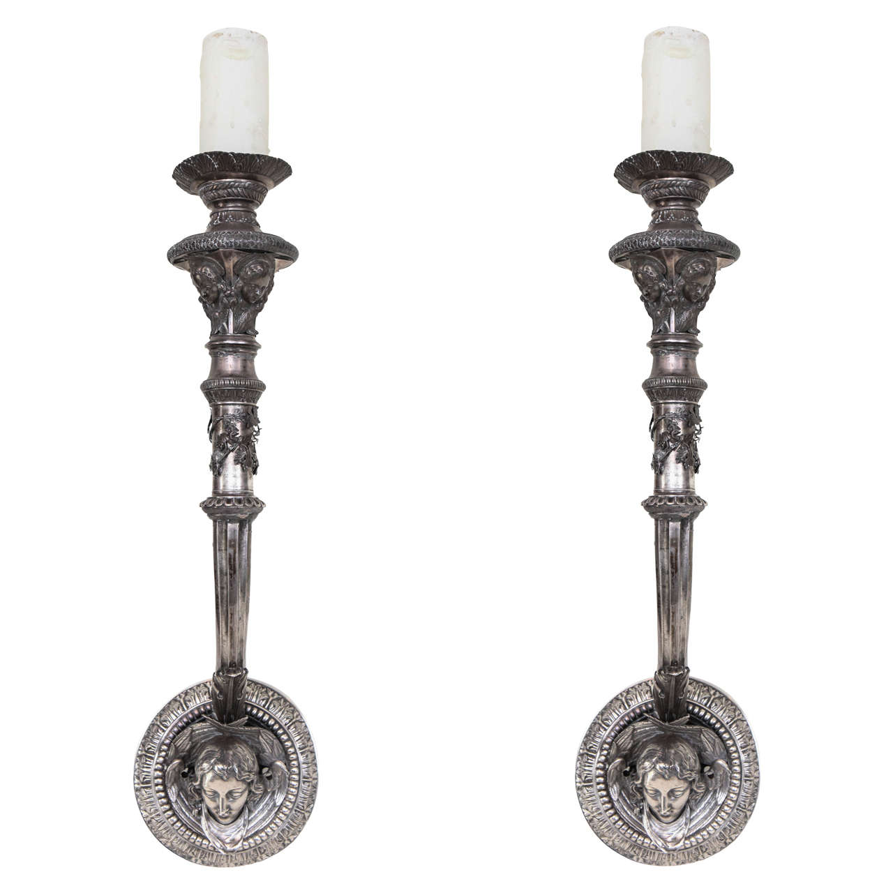 Pair of French Silvered Bronze Arm Sconces