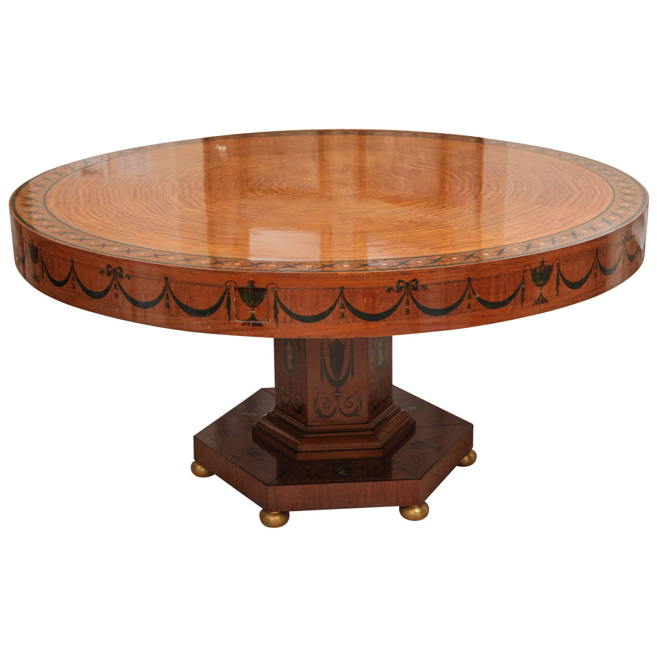 19th Century Edward Caldwell Round Satinwood Dining Table For Sale