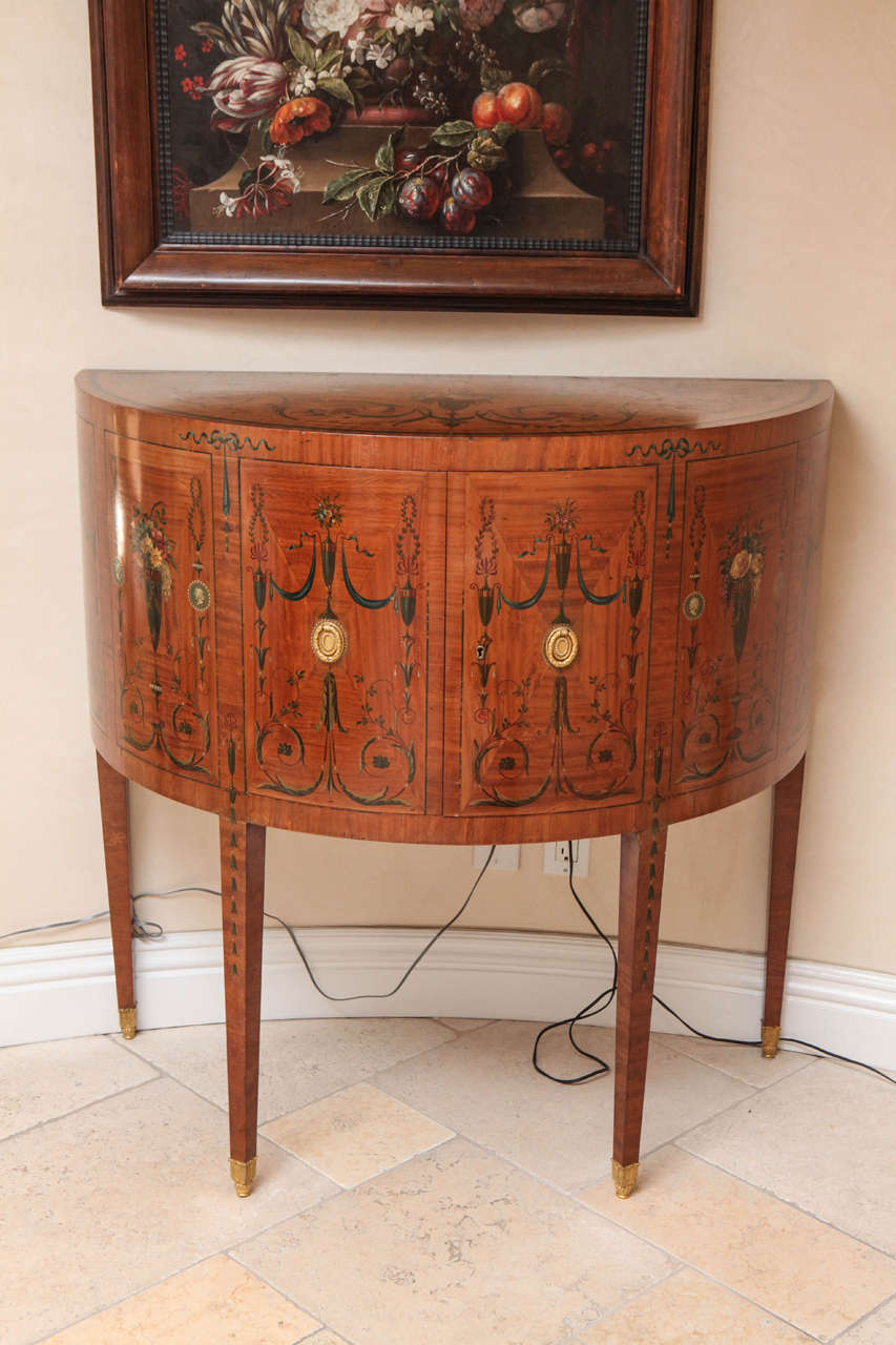19th Century Edward Caldwell Satinwood Demilune Console