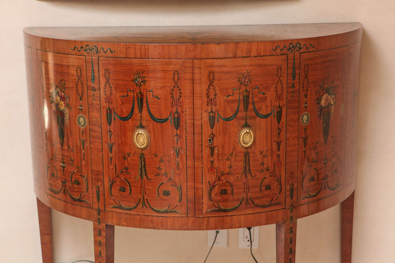 19th Century Edward Caldwell Satinwood Demilune Console Table 3