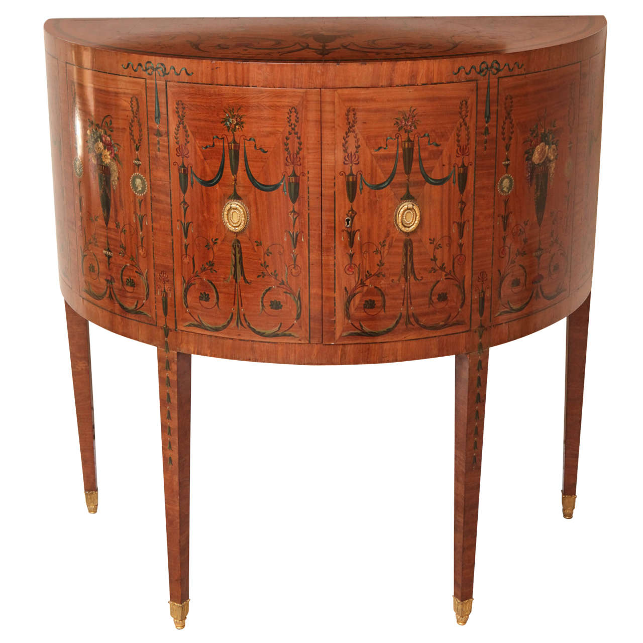 19th Century Edward Caldwell Satinwood Demilune Console Table 1