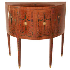 19th Century Edward Caldwell Satinwood Demilune Console Table