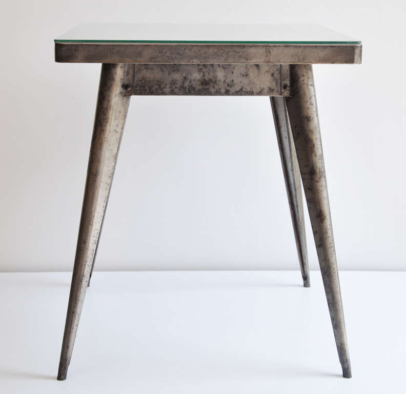 Art Deco Industrial Metal Bistro Table by Xavier Pauchard for Tolix, 1930s 2