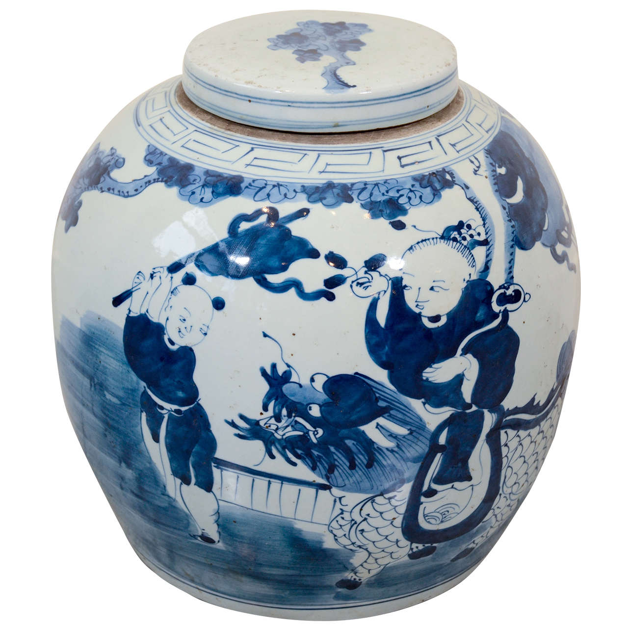 Large Porcelain Covered Jar