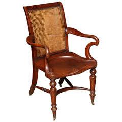 Large Mohagany Desk Chair w/ Saddle Seat