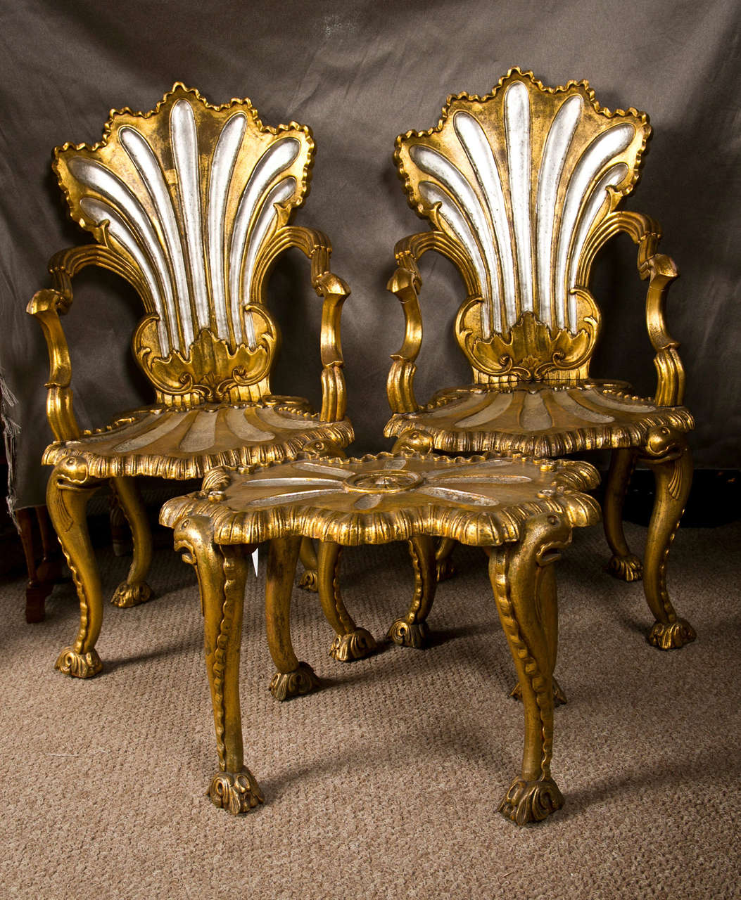 Spectacular french rococo style armchairs and stool by for French rococo style