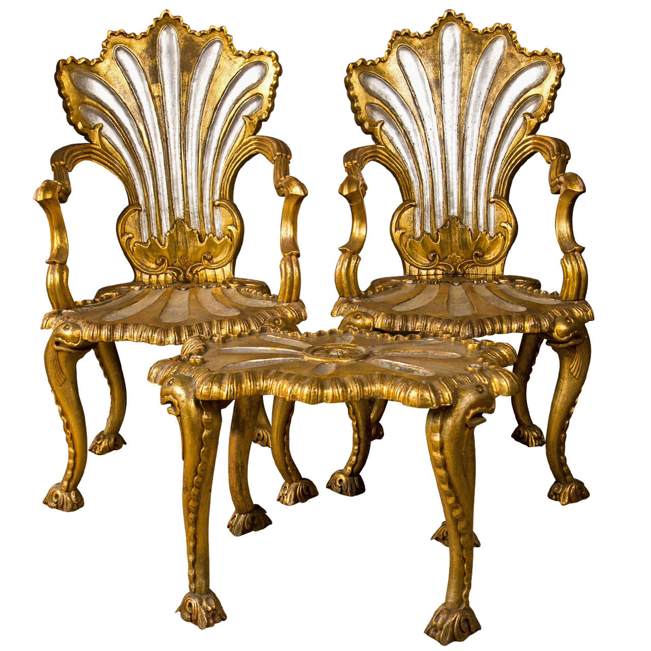 Spectacular French Rococo Style Armchairs And Stool By