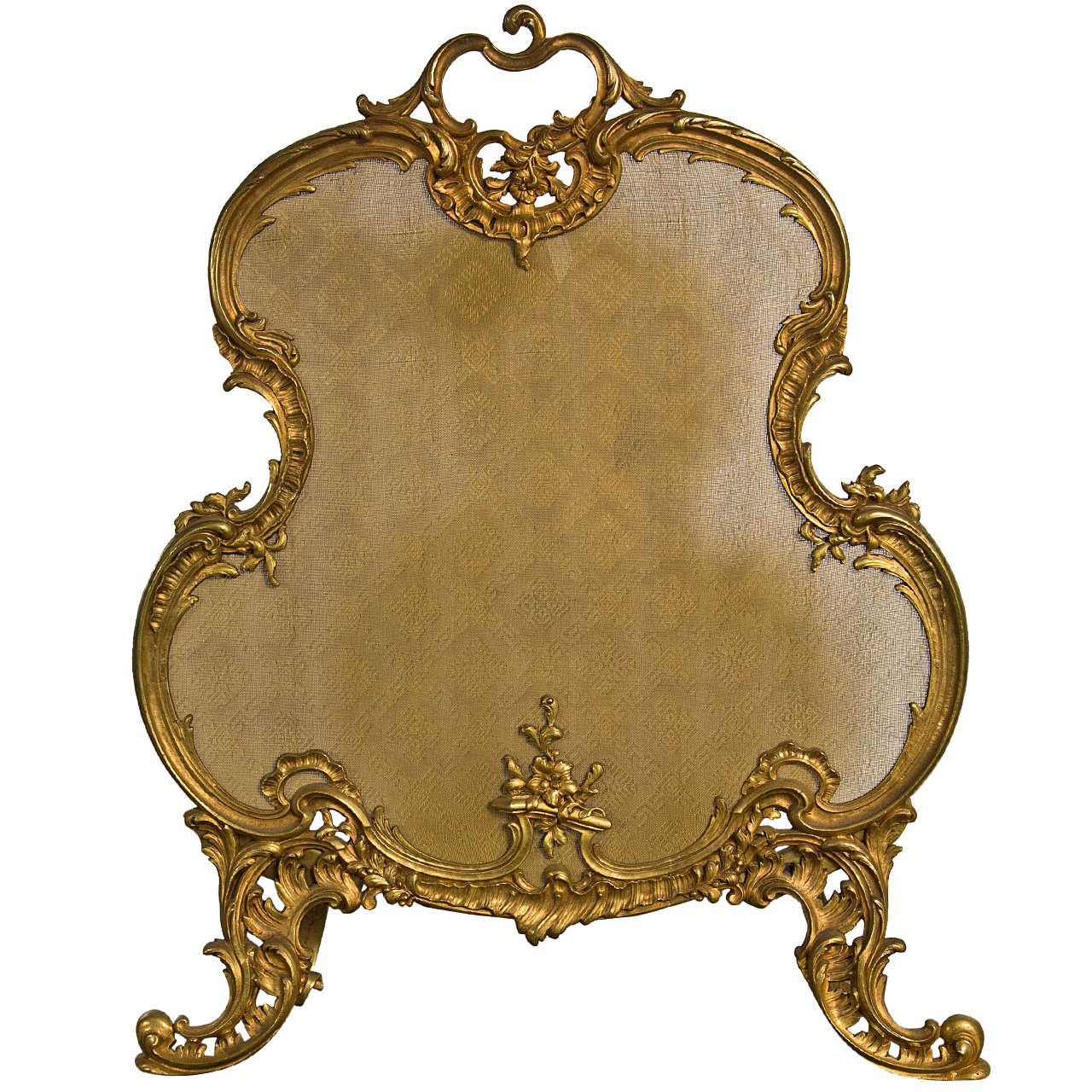 French rococo style gilt bronze fireplace fender at 1stdibs for French rococo style