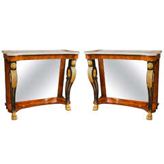 Pair of Scagliola Inlaid Marble-Top Consoles Possibly by Pietto Bossi