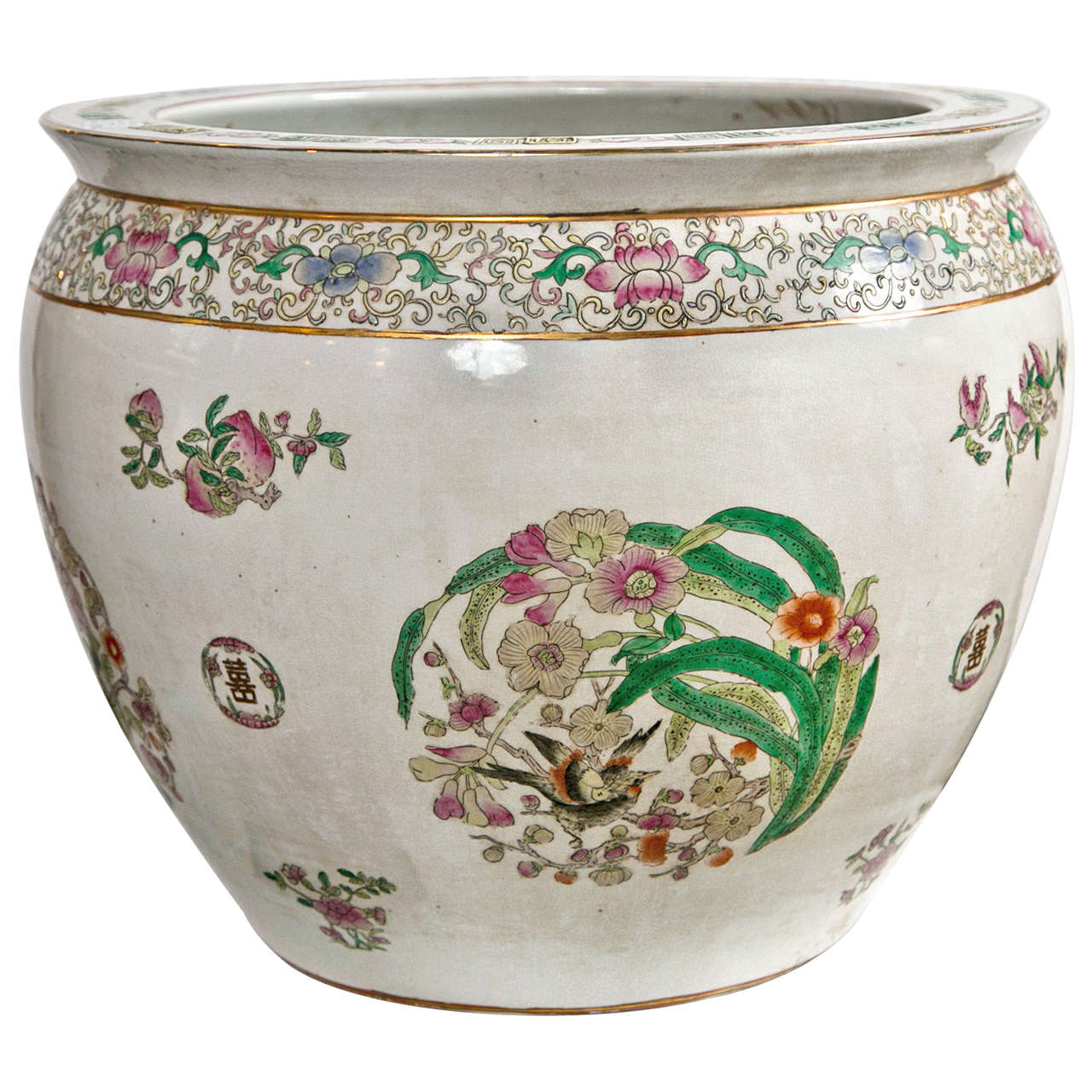 Large famile rose chinese export fish bowl for sale at 1stdibs for Large fish bowl