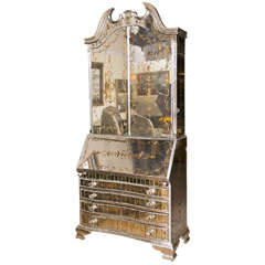 Monumental Eglomise Glass and Silver-Gilt Bar / Bookcase manner Jansen