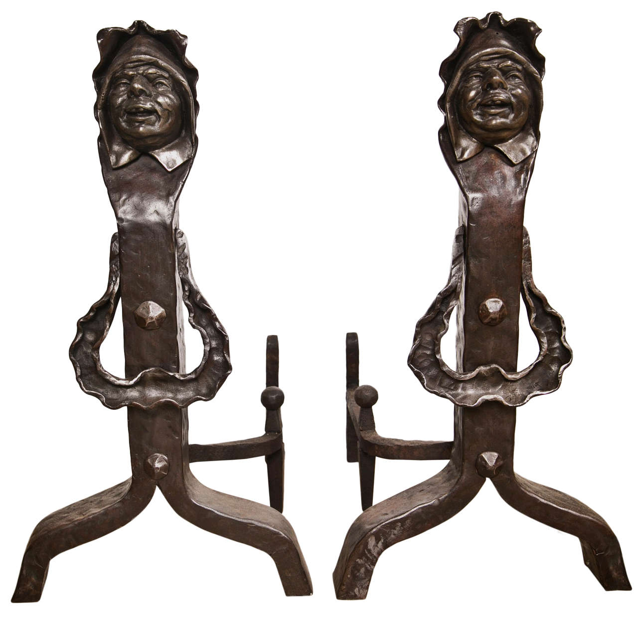 Vintage Set of Figural Cast Iron Fireplace Andirons For Sale at ...
