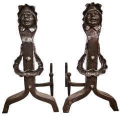 Vintage Set of Figural Cast Iron Fireplace Andirons