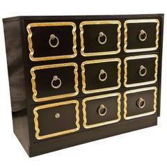 Dorothy Draper Style Dresser Ebonized Three Drawer