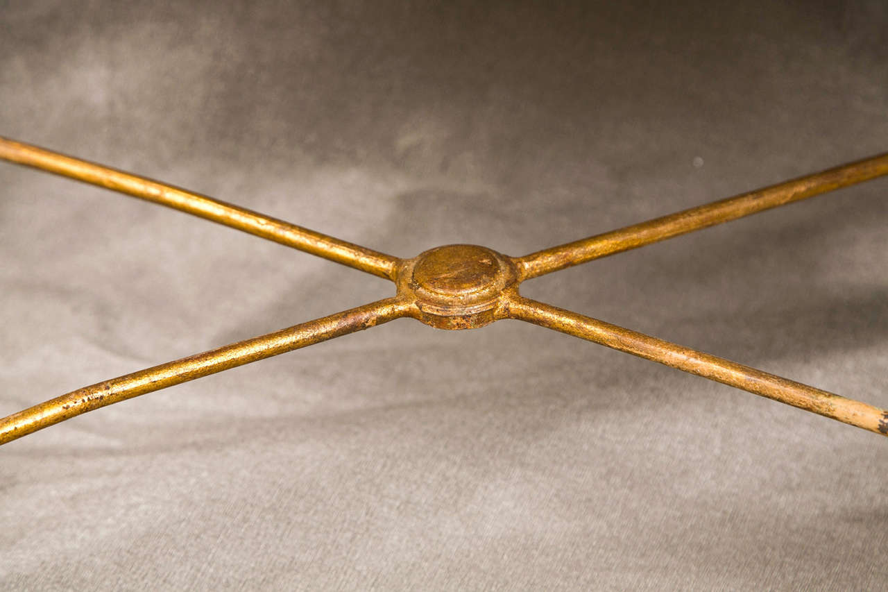 French Bronze Based Gilt Glass Top Coffee Table For Sale