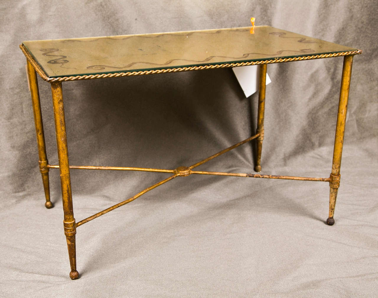 Bronze Based Gilt Glass Top Coffee Table For Sale 1