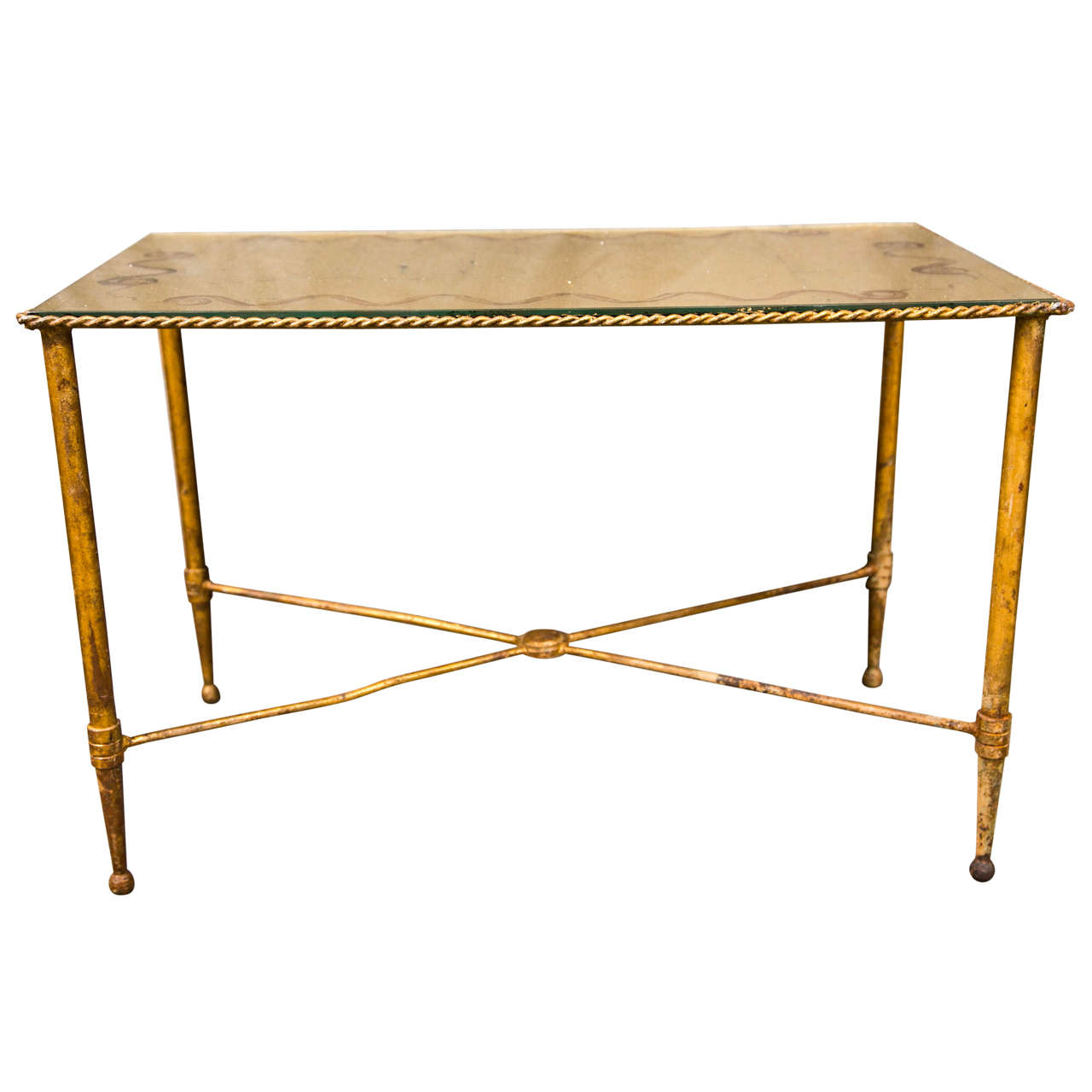 Bronze Based Gilt Glass Top Coffee Table At 1stdibs