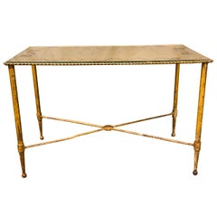 Bronze Based Gilt Glass Top Coffee Table