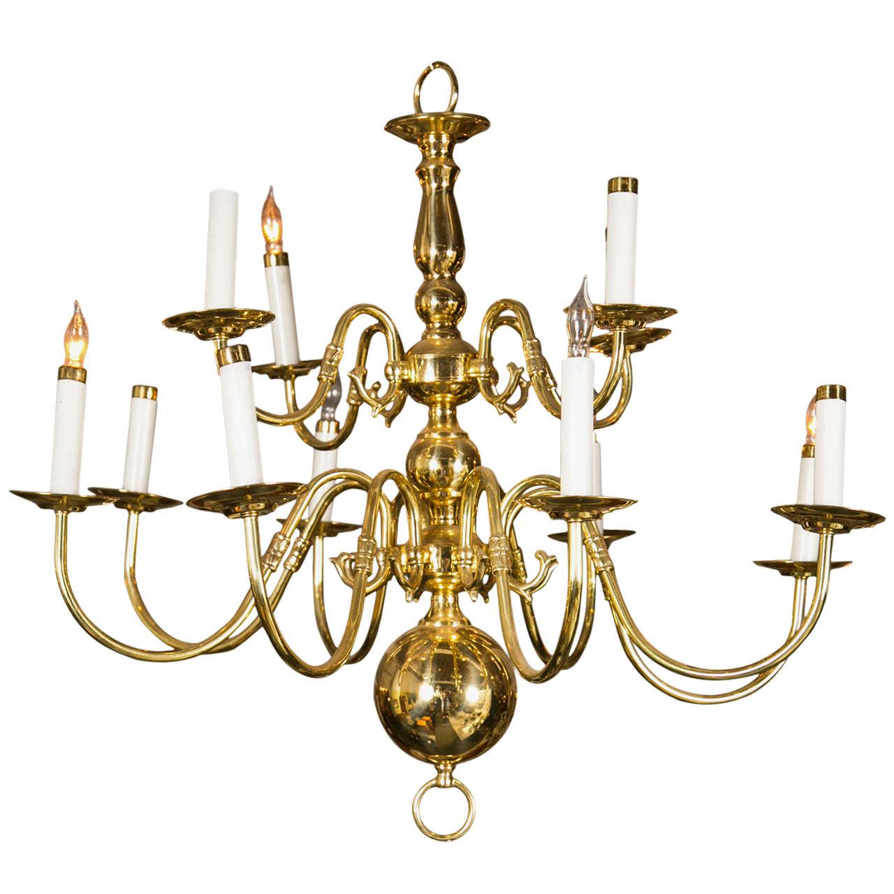 Twelve-Light Brass Ball Form Chandelier