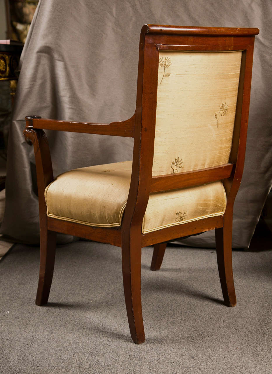 Russian Neoclassical Fauteuil Armchair in Silk Fabric 1