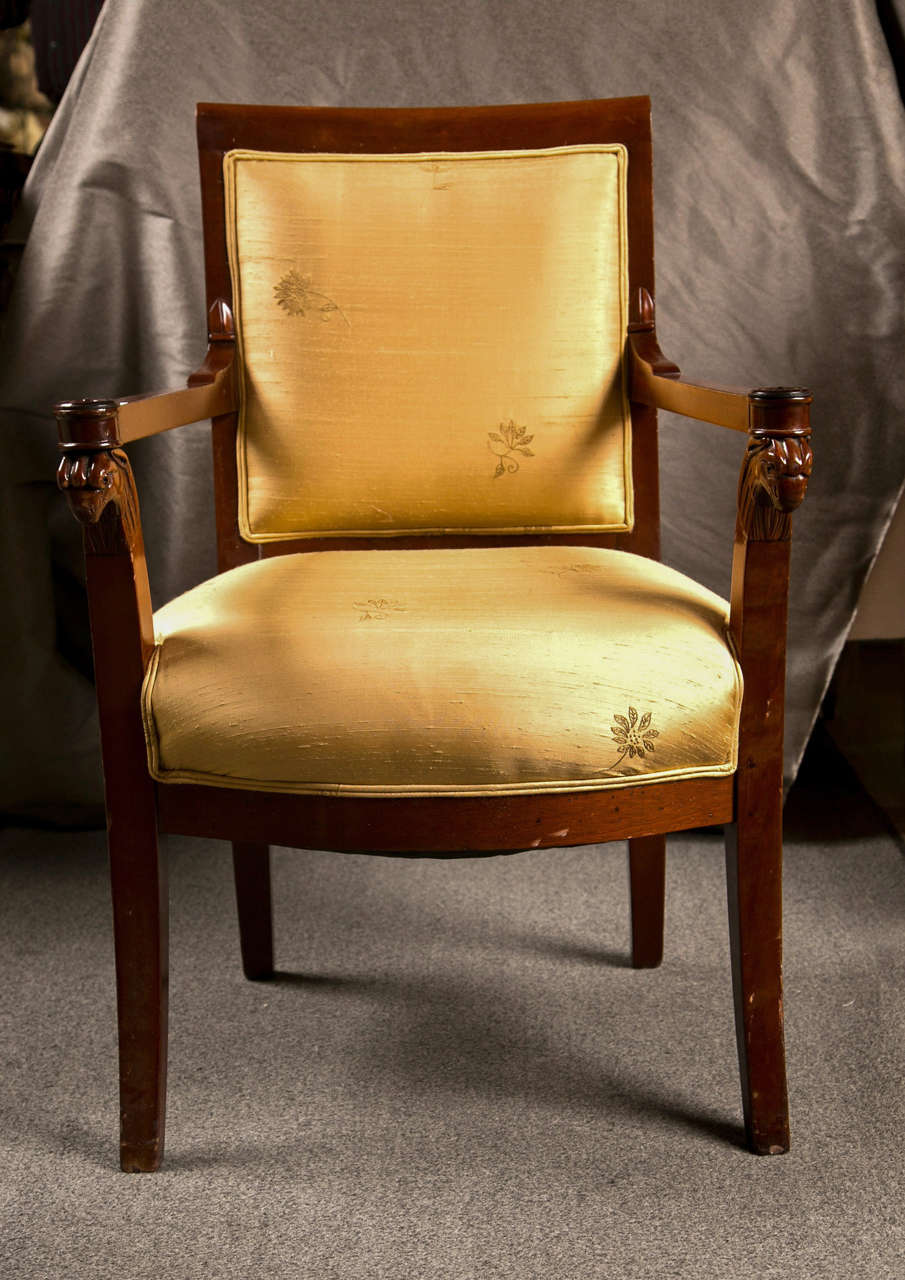 Russian Neoclassical Fauteuil Armchair in Silk Fabric 5