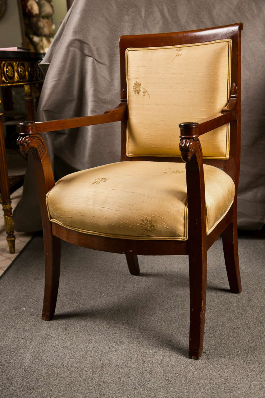 Russian Neoclassical Fauteuil Armchair in Silk Fabric 6
