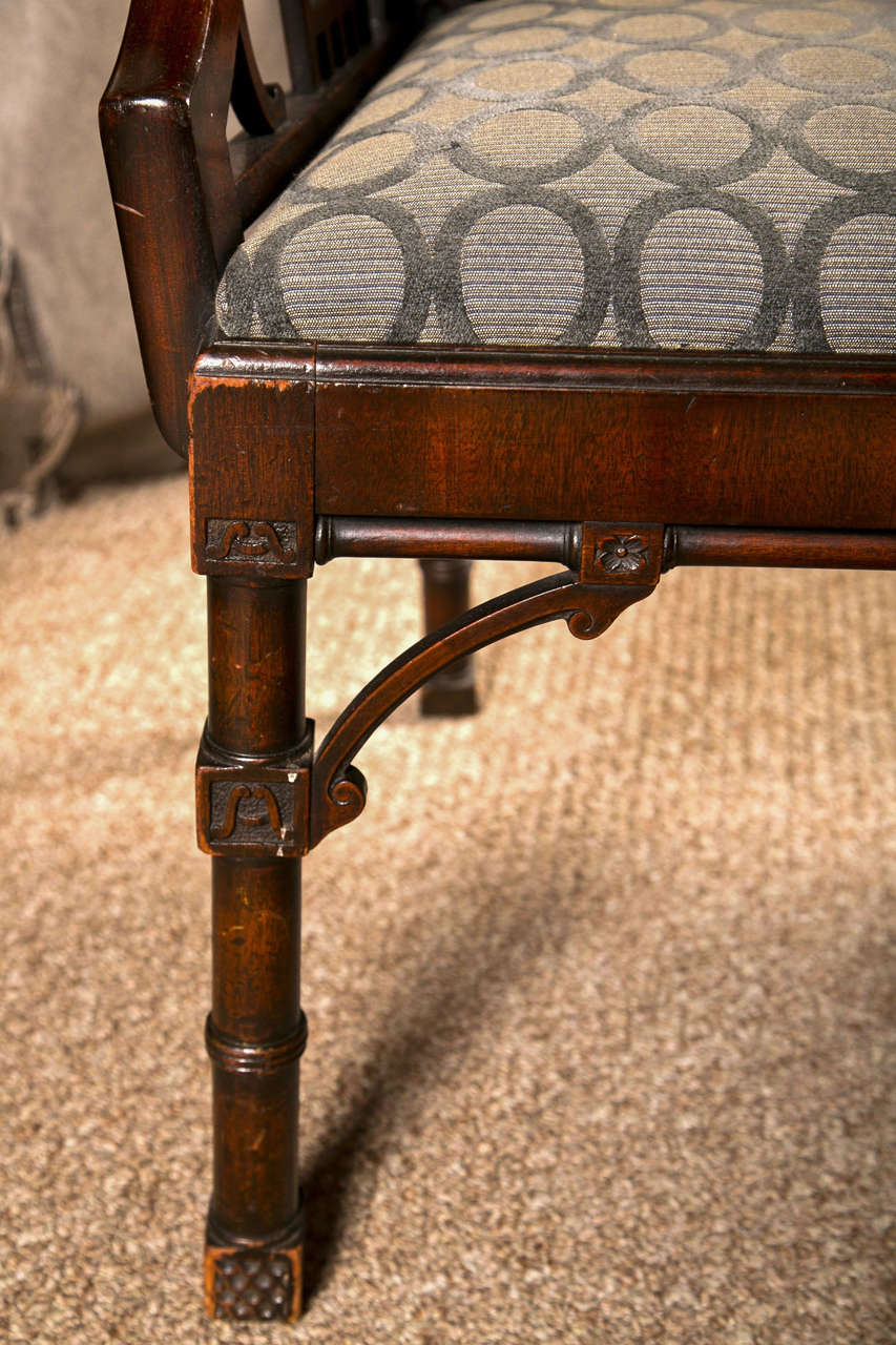 Mid-20th Century Antique Chinese Chippendale Settee - Canape For Sale