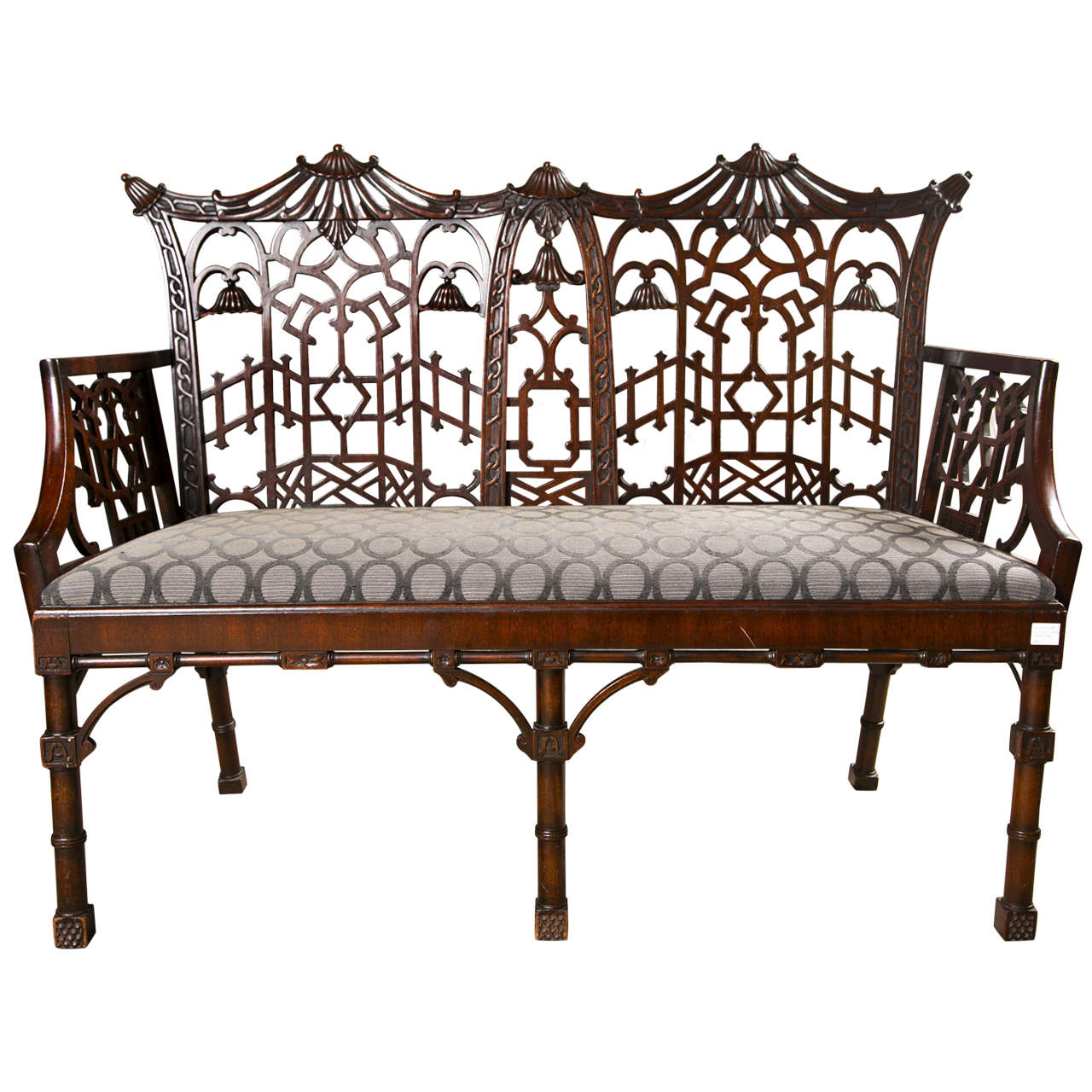 Antique chinese chippendale settee canape for Canape orientale