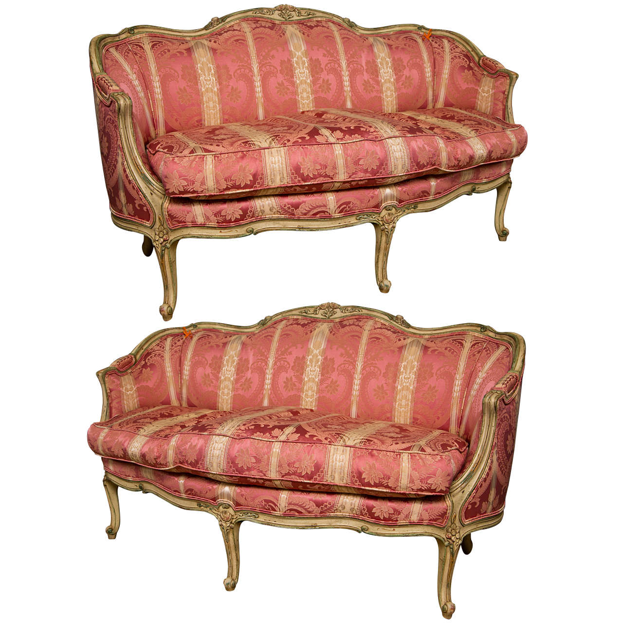 fine pair of french louis xv settees canapes by widdicomb. Black Bedroom Furniture Sets. Home Design Ideas