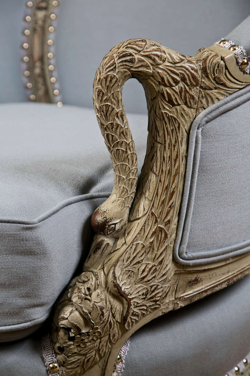 An Antique Swedish Painted Decorated Swan Arm Chair at 1stdibs Swan Arms