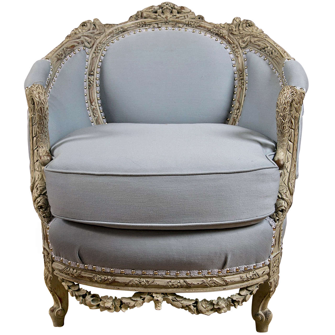 An Antique Swedish Painted Decorated Swan Arm Chair For