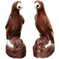 Pair of Chinese Export Brown Glazed Porcelain Parrots, circa 1850
