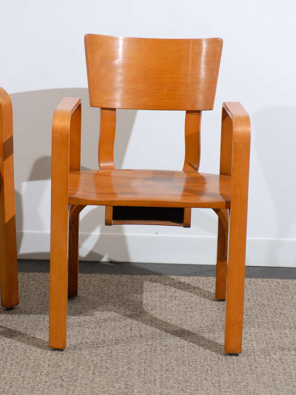 Bent Plywood Chair - An unusual pair of bent plywood arm chairs by thonet 2