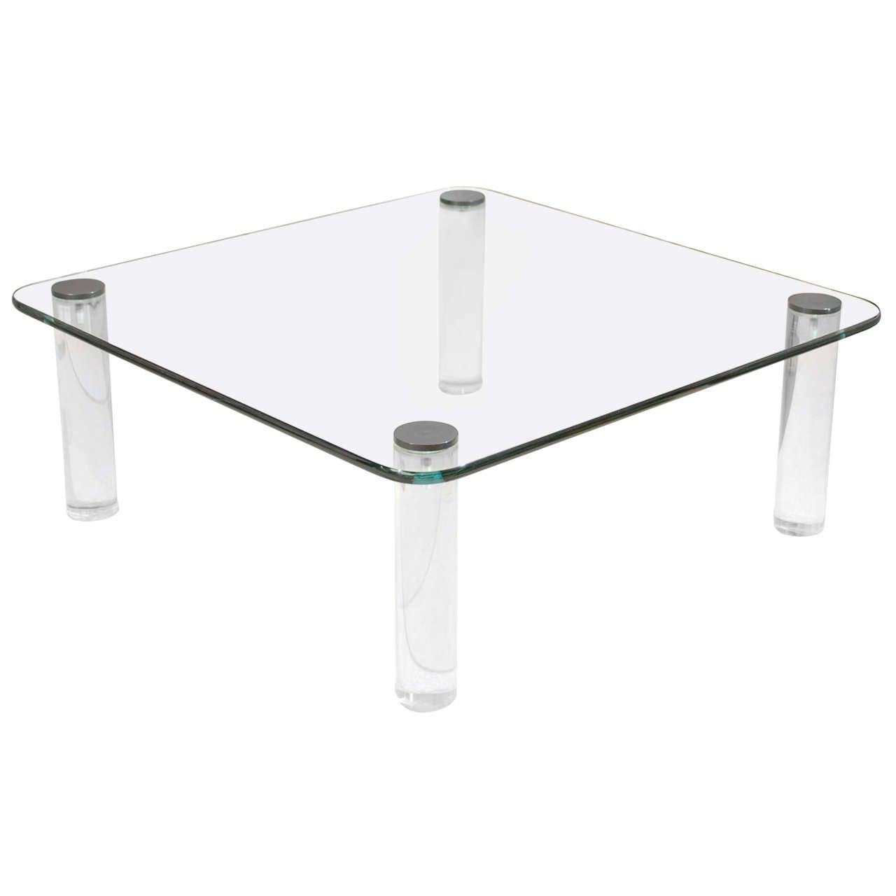 Dramatic Vintage Glass, Lucite And Bronze Coffee Table By Pace